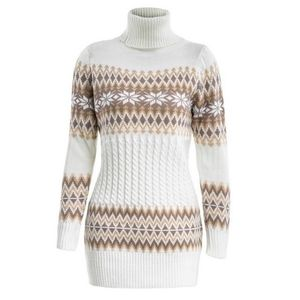 Dresses & Skirts - Women's Christmas Snowflake Sweater Dress White S